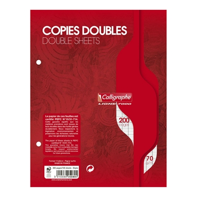 CONQUERANT SEPT Copies doubles 170 x 220 mm,Seyès, 200 pages 100101223