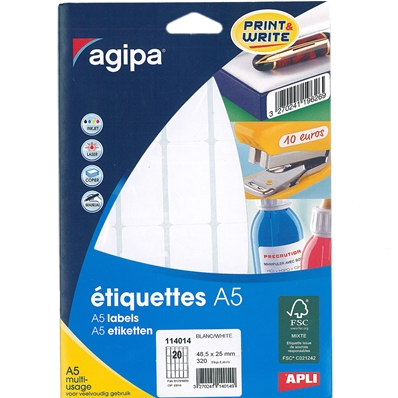 Agipa Etiquettes multi-usage, 25 x 48,5 mm, blanches 114014