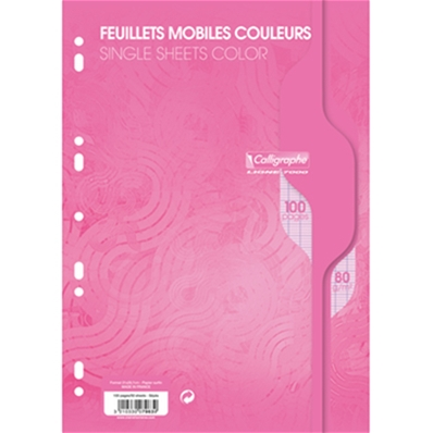 Feuillets mobiles A4 100P seyes 80G rose Calligraphe 7963