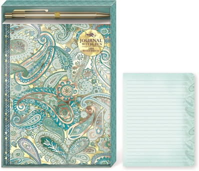 Punch studio set carnet de notes & stylos Blue Paisley Jewel Tones 43933