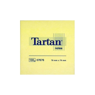 Tartan bloc-notes repositionnable, 76 x 76 mm, jaune 07676