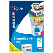 Agipa étiquettes multi-usage, 19,3 x 32 mm, blanches 114010