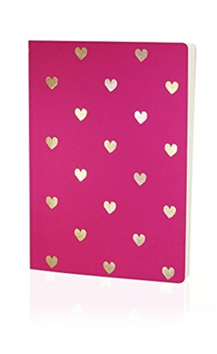 Carnet  Go Stationery Shimmer A5 coeurs couleur rose