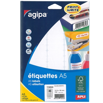 Agipa Etiquettes multi-usage, 12,8 x 38 mm, blanches 114044