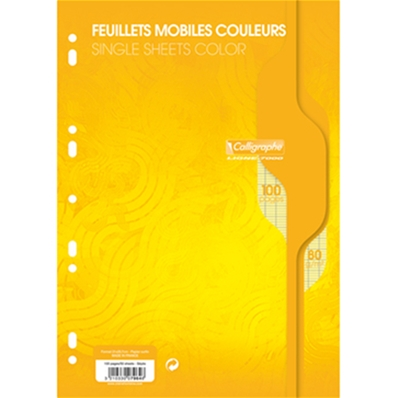 Feuillets mobiles A4 100P seyes 80G jaune Calligraphe 7964