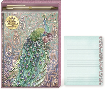 Punch studio set carnet de notes & stylos peacock paisley Jewel Tones 43920