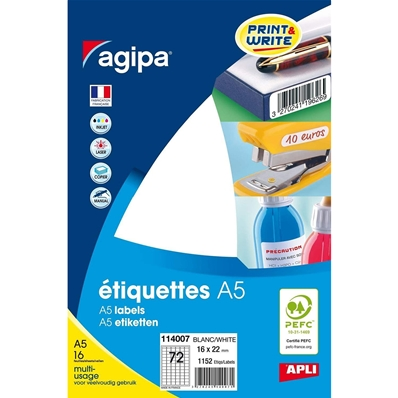 Agipa Etiquettes multi-usage, 16 x 22 mm, blanches 114007