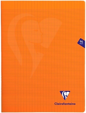 Clairefontaine Cahier Mimesys orange grands carreaux - 24x32 cm - 96 pages