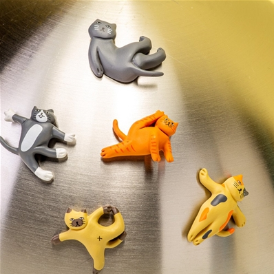 Kikkerland Magnets Aimants de yoga pour chat