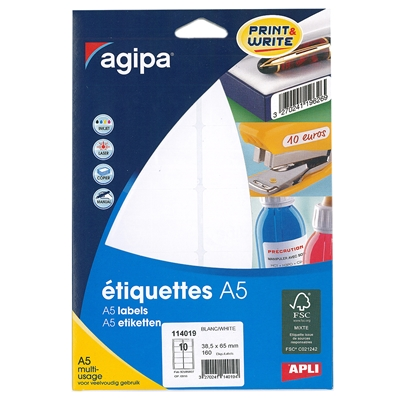 Etiquettes Multi-usages 38.5 mm x 65 mm Agipa 114019