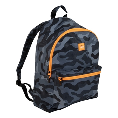 Milan Sac à dos escolaire Black Camouflage, noir et orange